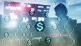 Εικονίδια δολαρίων, δομή δικτύων χρημάτων ICO, εμπορικές συναλλαγές και επένδυση Crowdfunding στοκ φωτογραφία με δικαίωμα ελεύθερης χρήσης