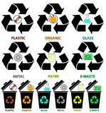 Εικονίδια δοχείων απορριμμάτων με τους διαφορετικούς τύπους χρωμάτων απορριμάτων: Οργανικός, πλαστικός, μέταλλο, έγγραφο, γυαλί,  διανυσματική απεικόνιση