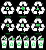 Εικονίδια δοχείων απορριμμάτων με τους διαφορετικούς τύπους απορριμάτων: Οργανικός, πλαστικός, μέταλλο, έγγραφο, γυαλί, ε-απόβλητ ελεύθερη απεικόνιση δικαιώματος