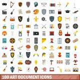 100 εικονίδια εγγράφων τέχνης καθορισμένα, επίπεδο ύφος Στοκ Φωτογραφία