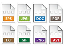 Εικονίδια εγγράφων Στοκ εικόνα με δικαίωμα ελεύθερης χρήσης