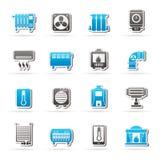 Εικονίδια εγχώριων συσκευών θέρμανσης Στοκ φωτογραφία με δικαίωμα ελεύθερης χρήσης
