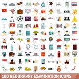 100 εικονίδια εξέτασης γεωγραφίας καθορισμένα, επίπεδο ύφος Στοκ Φωτογραφία