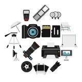 Εικονίδια εξοπλισμού στούντιο φωτογραφιών καθορισμένα, επίπεδο ύφος Στοκ Εικόνα