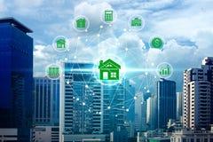 Εικονίδια επένδυσης ιδιοκτησίας πέρα από τη σύνδεση δικτύων στοκ εικόνες
