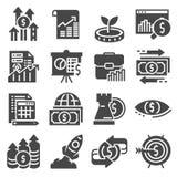 Εικονίδια επένδυσης καθορισμένα Χρήματα, χρηματοδότηση, απεικόνιση κατάθεσης απεικόνιση αποθεμάτων
