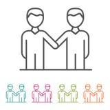 Εικονίδια επιχειρηματιών συμφωνίας στο λεπτό ύφος γραμμών και το επίπεδο σχέδιο Στοκ Φωτογραφία