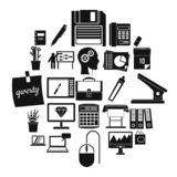 Εικονίδια εργαζομένων γραφείων καθορισμένα, απλό ύφος διανυσματική απεικόνιση
