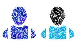 Εικονίδια εργαζομένων μωσαϊκών τρόπων ταχυδρομείου διανυσματική απεικόνιση