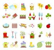 Εικονίδια εργαλείων άνοιξη και κηπουρικής καθορισμένα Φύτευση, αυξανόμενος, φροντίζοντας για τα στοιχεία κήπων και διακοσμήσεων π απεικόνιση αποθεμάτων