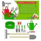 Εικονίδια εργαλείων κηπουρικής που απομονώνονται στο άσπρο υπόβαθρο Πρότυπο εμβλημάτων με τα εργαλεία κηπουρικής διανυσματική απεικόνιση