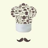 Εικονίδια εργαλείων κουζινών στην έννοια καπέλων αρχιμαγείρων Στοκ Εικόνες