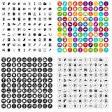 100 εικονίδια εργασίας γραφείων καθορισμένα τη διανυσματική παραλλαγή Στοκ εικόνα με δικαίωμα ελεύθερης χρήσης