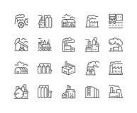 Εικονίδια εργοστασίων γραμμών ελεύθερη απεικόνιση δικαιώματος