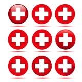 Εικονίδια Ερυθρών Σταυρών ελεύθερη απεικόνιση δικαιώματος