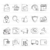 Εικονίδια ηλεκτρονικού εμπορίου και αγορών Στοκ εικόνα με δικαίωμα ελεύθερης χρήσης