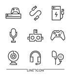 Εικονίδια ηλεκτρονικών συσκευών Τα εξαρτήματα τυχερού παιχνιδιού λεπταίνουν το διάνυσμα γραμμών Στοκ φωτογραφίες με δικαίωμα ελεύθερης χρήσης