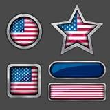 εικονίδια ΗΠΑ σημαιών συλλογής Στοκ εικόνες με δικαίωμα ελεύθερης χρήσης