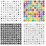 100 εικονίδια θερινών διακοπών καθορισμένα τη διανυσματική παραλλαγή Στοκ φωτογραφίες με δικαίωμα ελεύθερης χρήσης