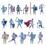 Εικονίδια ιπποτών καθορισμένα, ύφος κινούμενων σχεδίων ελεύθερη απεικόνιση δικαιώματος