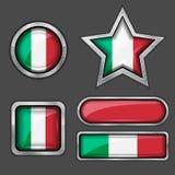 εικονίδια ιταλικά σημαιών συλλογής Στοκ Φωτογραφία