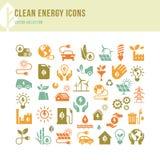 Εικονίδια καθαρής ενέργειας που γίνονται σε ένα επίπεδο ύφος και που απομονώνονται σε ένα άσπρο υπόβαθρο στα διάφορα χρώματα διανυσματική απεικόνιση