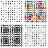 100 εικονίδια καλοκαιρινό εκπαιδευτικό κάμπινγκ καθορισμένα τη διανυσματική παραλλαγή Στοκ φωτογραφία με δικαίωμα ελεύθερης χρήσης