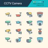 Εικονίδια καμερών CCTV Γεμισμένη συλλογή 58 σχεδίου περιλήψεων Για τα pres Διανυσματική απεικόνιση