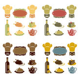 Εικονίδια καταλόγων επιλογής εστιατορίων που τίθενται ελεύθερη απεικόνιση δικαιώματος