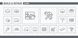 Εικονίδια κατασκευής & επισκευής - καθορισμένος Ιστός & κινητά 03 διανυσματική απεικόνιση