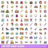 100 εικονίδια καταστημάτων παιχνιδιών καθορισμένα, ύφος κινούμενων σχεδίων ελεύθερη απεικόνιση δικαιώματος