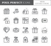 Εικονίδια κιβωτίων δώρων που τίθενται στοιχεία με το editable κτύπημα - τα μαύρα περιλήψεων διαφανή τυλιγμένος και διακοσμημένος  διανυσματική απεικόνιση