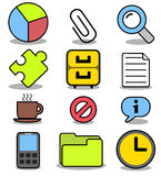 Εικονίδια κινούμενων σχεδίων που τίθενται - εφαρμογές 01 γραφείων Στοκ Εικόνες
