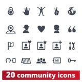 Εικονίδια Κοινότητας και επικοινωνίας ανθρώπων καθορισμένα ελεύθερη απεικόνιση δικαιώματος