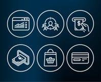Εικονίδια κυκλοφορίας on-line αγοράς, μετρητών και Ιστού Υπηρεσία του ATM, επιχειρησιακή στοχοθέτηση και σημάδια πιστωτικών καρτώ Στοκ εικόνα με δικαίωμα ελεύθερης χρήσης