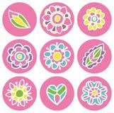 Εικονίδια λουλουδιών στο χρώμα κρητιδογραφιών κύκλων Στοκ φωτογραφίες με δικαίωμα ελεύθερης χρήσης