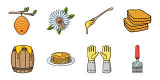 Εικονίδια μελισσουργείων και μελισσοκομίας στην καθορισμένη συλλογή για το σχέδιο Στοκ Εικόνες