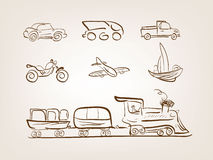 Εικονίδια μεταφορών που τίθενται στην άσπρη ανασκόπηση απεικόνιση αποθεμάτων
