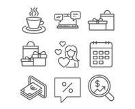 Εικονίδια μετρητών, ημερολογίων και αγορών Φλυτζάνι τσαγιού, δώρα και σημάδια συνομιλίας Διαδικτύου Στοκ Εικόνα