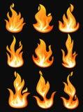 Εικονίδια με τη φλόγα ή την καίγοντας πυρκαγιά, βολίδα απεικόνιση αποθεμάτων