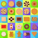 Εικονίδια μπισκότων καθορισμένα, επίπεδο ύφος ελεύθερη απεικόνιση δικαιώματος