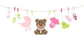 Εικονίδια μωρών και ροζ τόξων κοριτσιών Teddy και πράσινος διανυσματική απεικόνιση