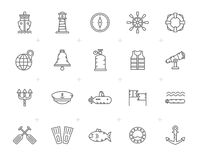 Εικονίδια ναυτικού, ναυτικών, ναυσιπλοΐας και θάλασσας γραμμών Στοκ εικόνες με δικαίωμα ελεύθερης χρήσης
