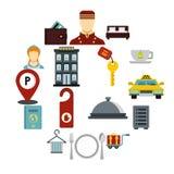 Εικονίδια ξενοδοχείων καθορισμένα, επίπεδο ύφος Στοκ φωτογραφίες με δικαίωμα ελεύθερης χρήσης
