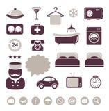 Εικονίδια ξενοδοχείων που τίθενται ελεύθερη απεικόνιση δικαιώματος