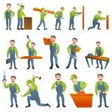 Εικονίδια ξυλουργών καθορισμένα, ύφος κινούμενων σχεδίων ελεύθερη απεικόνιση δικαιώματος