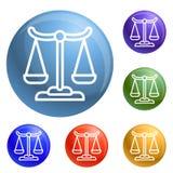 Εικονίδια οικονομικής ισορροπίας καθορισμένα διανυσματικά ελεύθερη απεικόνιση δικαιώματος