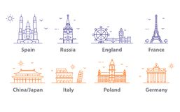 Εικονίδια ορόσημων καθορισμένα, σύμβολα παγκόσμιων κεφαλαίων Παρίσι και Λονδίνο, Μόσχα και Ισπανία, Γαλλία και Κίνα και περισσότε διανυσματική απεικόνιση