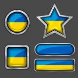 εικονίδια Ουκρανία σημαιών συλλογής Στοκ Εικόνες