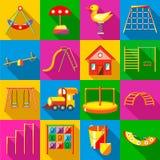 Εικονίδια παιδικών χαρών καθορισμένα, επίπεδο ύφος απεικόνιση αποθεμάτων